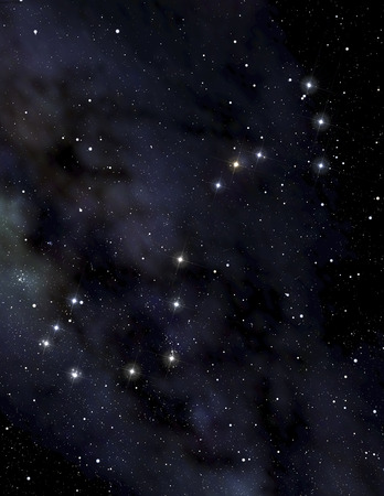 A deep space background with the constellation of the Scorpion in the foreground in the night sky Stock Photo