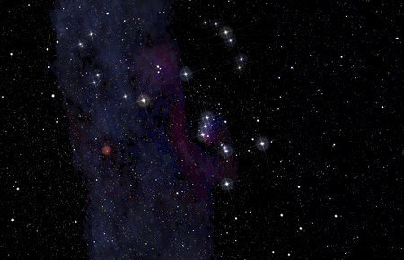 Deep space background with Orion constellation in the foreground.