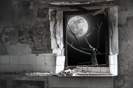 The interior of a ruined house lit by full moon