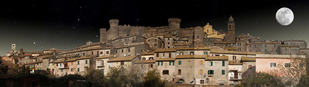 Night view of the little town of Bracciano photo