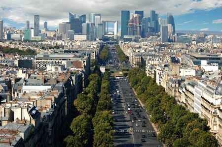 charles de gaulle: View of La Defence from Place Charles De Gaulle Stock Photo