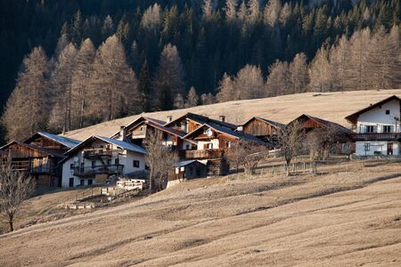 selva: Typical houses in the mountain village of Selva di Cadore in Veneto in northern Italy