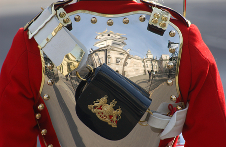 saddlebag: Details of the uniform of a Royal Guard in London