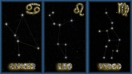 astrologer: The three summer signs of zodiac with identification of the constellations and symbols used to identify them. Stock Photo