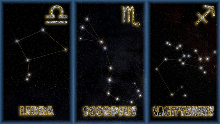 The three autumn signs of  zodiac with identification of the constellations and symbols used to identify them.
