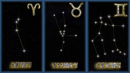 astrologer: The three spring signs of the zodiac with identification of the constellations and symbols used to identify them.