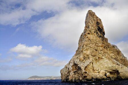 es: North rocky cost of Es Vedra island near Ibiza Stock Photo