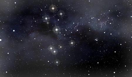 Een diepe ruimte backgroud met de sterrenbeelden van de Soutern Kruis en Moskou op de voorgrond in de nachtelijke hemel