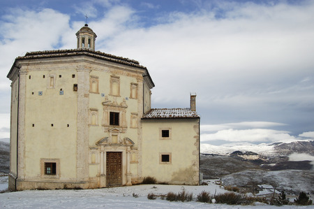 piety: The church of St. Mary of piety near castle Calascio in Abruzzo Italy