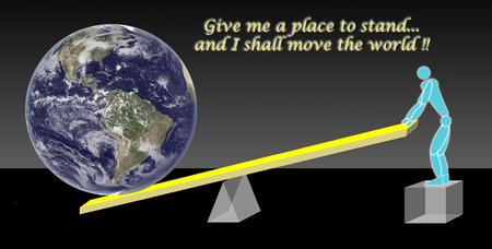 Rappresentazione della leva di Archimede.