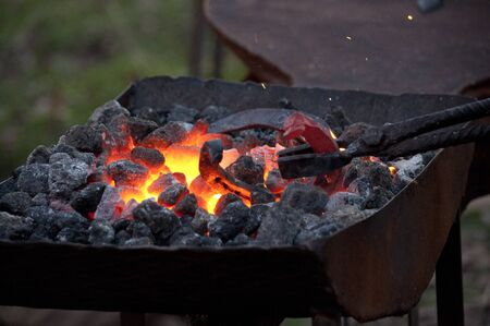 firebox: A brazier for forging horseshoes.