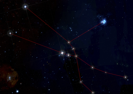 brightest: The image illustrate the constellation of taurus. The brightest star in the center of the image is Aldebaran. Reflection nebula in the upper rigth part and Orion in the lower left.