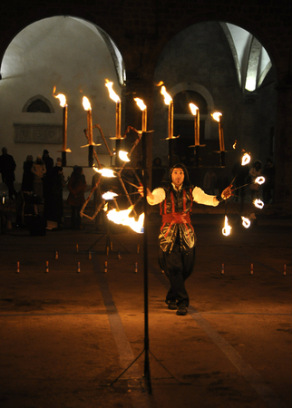rieti: Rieti Italy - 4 december 2013: Celebration of fire during the religious feast and commemoration of st. Barbara. Editorial
