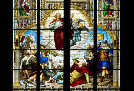 saint mark's: Stined glass in the Cathedral of Cologne which describes the conversion of Saint Paul. It is an event described in the Acts of the Apostles, which marks the adherence to Christianity of Paul or Saul of Tarsus Editorial