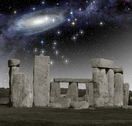 primordial: The monument of Stonehenge in front of primordial deep space.