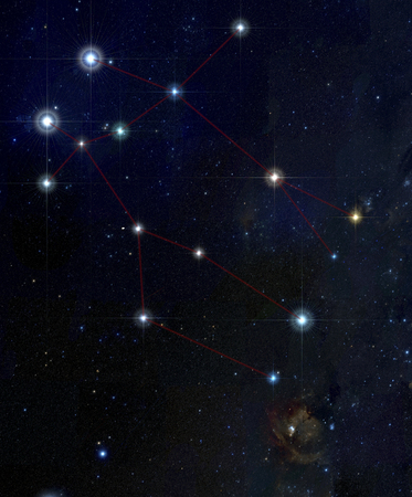 astroimage: The image illustrate the constellation of gemini. The two brightest stars in the upper part of the image are Castor and Pollux
