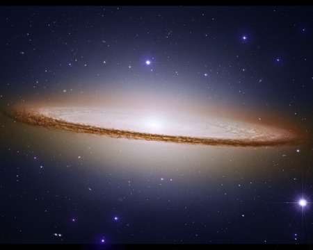 astroimage: Sombrero galaxy encircled by thick dust lanes, 28 million light years from Earth.