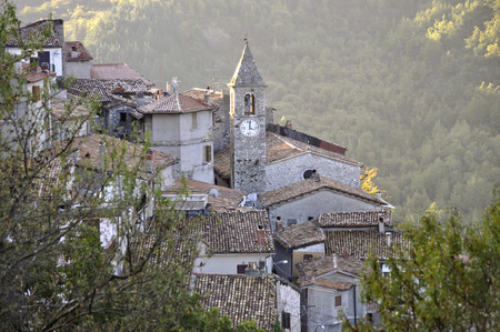 bove: Bell tower in the village of Colli di Monte Bove, Abruzzo Italy Stock Photo