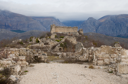 medioeval: View from the ruined church of Alba Fucens medioeval village and castle