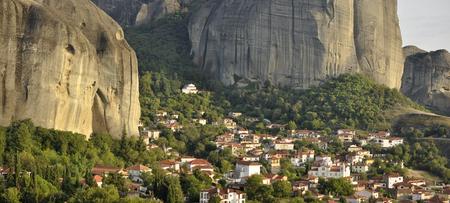 kalampaka: Panoramin view of Village of  Kastraki at Meteora Greece