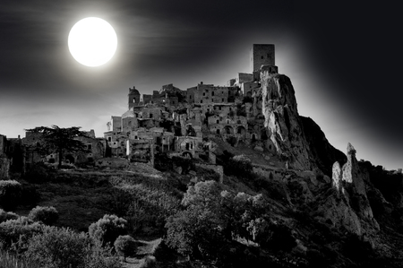 Abandoned village of Craco in Basilicata, in the moonlight