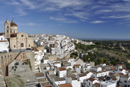lucania: Panorama of Pisticci, a village dominated by Church in south Italy Stock Photo