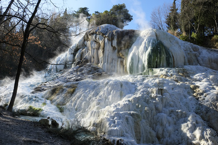 Thermal springs Bagni San Filippo, near Amiata mountain in Tuscany, Italy