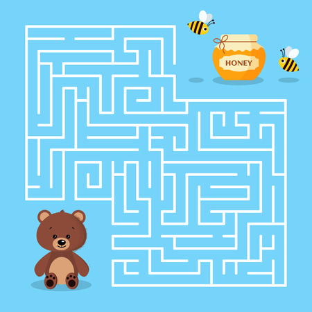Maze game for the preschool children with a labyrinth. Cartoon cute brown bear jar of honey and bees. Bear is looking for honey. Vector illustration. 일러스트
