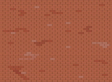 Abstract brown and red brick wall background texture. Vector illustration.