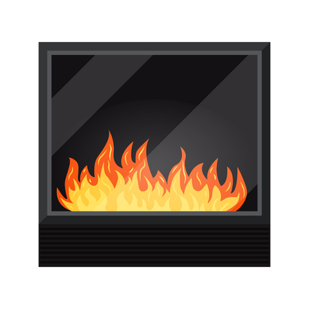 Icon of black modern electric or gas cozy fireburning fireplace isolated on white background. Heating system. Element of winter interior scene design. Vector illustration in a cartoon flat style.