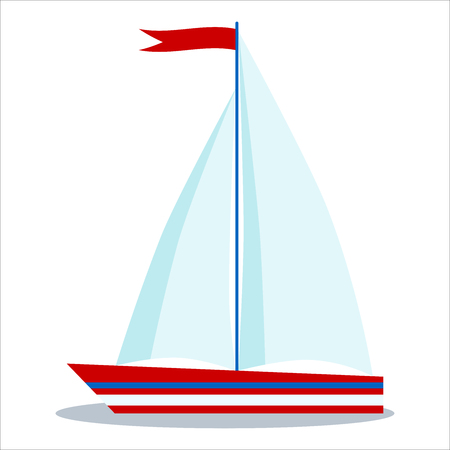 Icon of blue and red sailboat with two sails isolated on white background. Vector flat cartoon style illustration. Children marine style design elements.