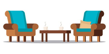 Vector flat design cartoon style illustration. Clip art image: cozy living room furniture - two armchairs with cushions, coffee table, two cups with hot tea or coffee isolated on white background.