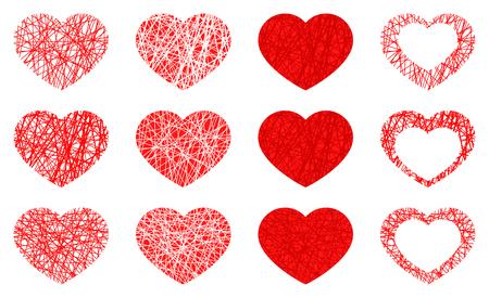 Insieme dell'icona del cuore rosso isolato, raccolta di simboli di amore su priorità bassa bianca. Illustrazione vettoriale