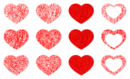 Set of isolated red heart icon, love symbol collection on white background. Vector illustration
