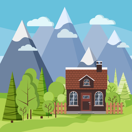 Spring or summer mountain landscape background scene with farm house with a tiled roof and chimney, fences, green trees, spruces, clouds, road in flat cartoon style. Summer vector illustration.