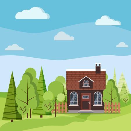 Scène de nature paysage d'été ou de printemps avec maison de campagne avec toit en tuiles et cheminée, clôtures, route, arbres verts, nuages d'épinettes dans un style cartoon plat. Illustration de fond de vecteur d'été. Vecteurs