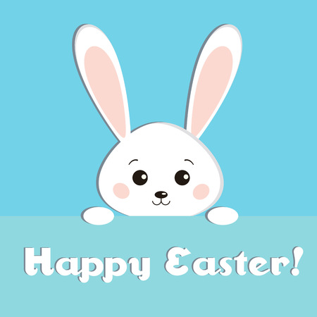 Greeting card with sweet white Easter looks out rabbit on blue background. Funny bunny in cartoon flat style. Easter Bunny. Happy easter backgrounf with cute rabbit. Children vector illustration.