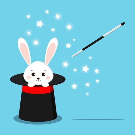 Magic black hat with sweet white rabbit inside and magic wand isolated on blue background. Vector flat style cartoon illustration. Иллюстрация