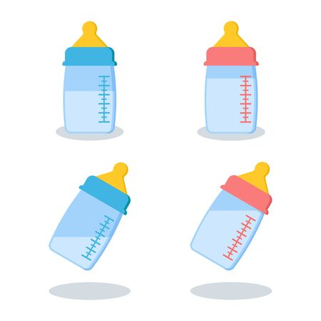 Set of scalable plastic or glass baby bottles with milk or water blue for boy and pink for girl isolated on white background with shadows. Vector illustration. Cartoon flat style. Иллюстрация