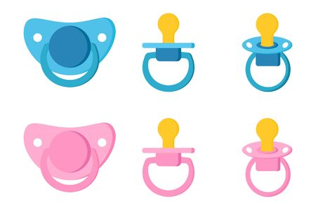 Set icons of pacifier baby dummy care for newborn child , pacifiers/baby dummies blue for boy and pink for girl in diffetent view position isolated on white background. Vector illustration. Vektoros illusztráció