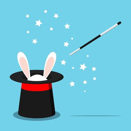 Icon of magic black hat with white rabbit bunny ears and magic wand with stars isolated on blue background. Vector illustration in flat cartoon style. Vector Illustration