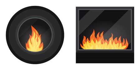 Icon set: round and square black modern electric or gas cozy fireburning fireplace isolated on white background. Heating system. Element of winter home interior scene. Vector flat design illustration. Vector Illustration