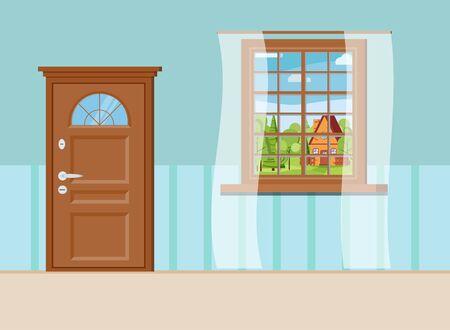 Houten gesloten deur en raam met zomer uitzicht op landschap met cartoon huis geïsoleerd op muur interieur achtergrond. Platte cartoon stijl vectorillustratie.