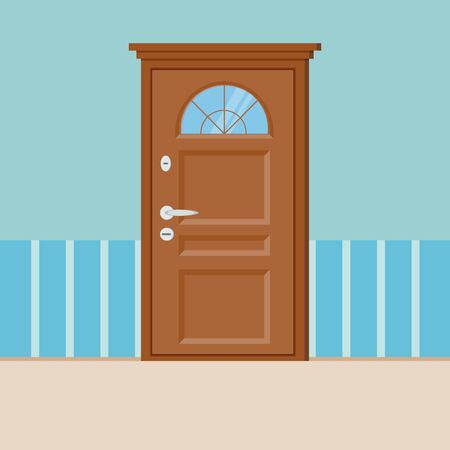 Wooden closed door with frame isolated on wall and floor interior background. Vector illustration in cartoon flat style.