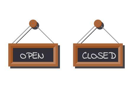 Bildsatz verschiedener offener und geschlossener Geschäftszeichen auf Schiefertafel mit Kreide auf weißem Hintergrund geschrieben. Vektor-flache Cartoon-Stil-Illustration.