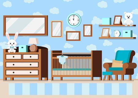 Arrière-plan intérieur de chambre de bébé confortable avec lit bébé, lampe, étagères, jouets d'ours lapin, affiches, body, tapis, réveil, commode dans un style plat de dessin animé. Illustration de scène d'enfants de vecteur.