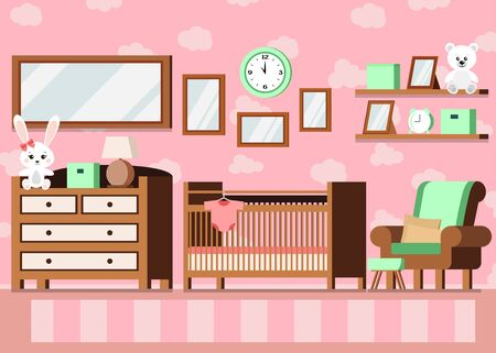 Cozy girls baby room interior pink color background with cot, lamp, shelves, toys, posters, bodysuit, carpet, alarm clock, chest of drawers in cartoon flat style. Vector interior scene illustration.