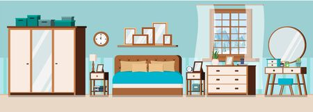 Cozy bedroom interior background with furniture and window with winter landscape scene. Wardrobe, bed, pillows, nightstands, chest of drawers, mirror, dressing table. Flat cartoon vector illustration. Illustration