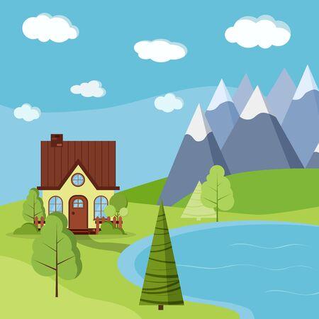 Scène de paysage d'été ou de printemps avec maison de ferme de campagne avec cheminée, arbres verts, épicéas, champs, nuages, montagnes et lac dans un style cartoon plat. Illustration de fond de vecteur de belle nature. Vecteurs