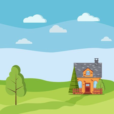 Spring or summer landscape with cartoon brick village farm house with attic, chimney, fences, green trees, spruce, fields, clouds in flat cartoon style. Summer scene vector background illustration.